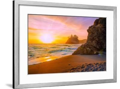 Beach at Sunset-Lantern Press-Framed Art Print