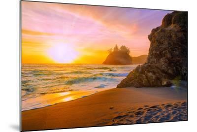 Beach at Sunset-Lantern Press-Mounted Art Print