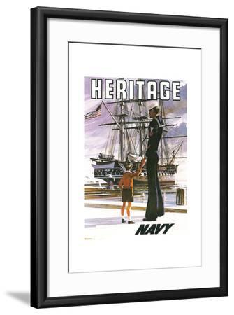 US Navy Vintage Poster - Heritage-Lantern Press-Framed Art Print
