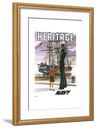 US Navy Vintage Poster - Heritage-Lantern Press-Framed Art Print