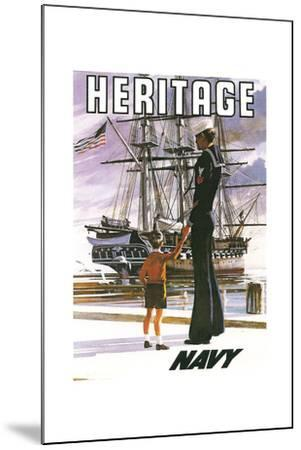 US Navy Vintage Poster - Heritage-Lantern Press-Mounted Art Print