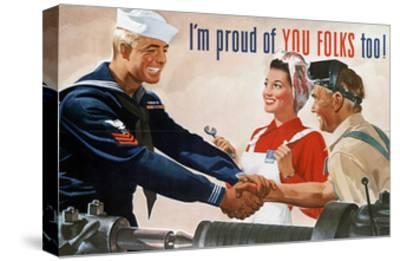 US Navy Vintage Poster - I'm Proud of You Folks Too-Lantern Press-Stretched Canvas Print