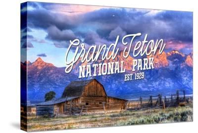 Grand Teton National Park, Wyoming - Barn and Sunset-Lantern Press-Stretched Canvas Print