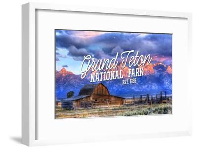 Grand Teton National Park, Wyoming - Barn and Sunset-Lantern Press-Framed Art Print