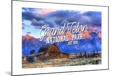 Grand Teton National Park, Wyoming - Barn and Sunset-Lantern Press-Mounted Art Print