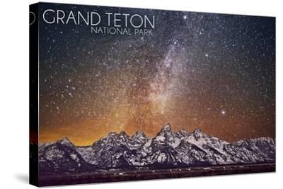 Grand Teton National Park, Wyoming - Milky Way-Lantern Press-Stretched Canvas Print