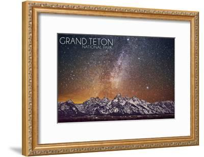 Grand Teton National Park, Wyoming - Milky Way-Lantern Press-Framed Art Print
