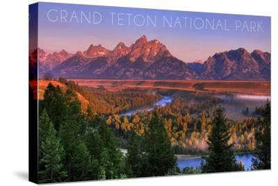 Grand Teton National Park, Wyoming - Sunset River and Mountains-Lantern Press-Stretched Canvas Print