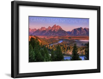 Grand Teton National Park, Wyoming - Sunset River and Mountains-Lantern Press-Framed Art Print
