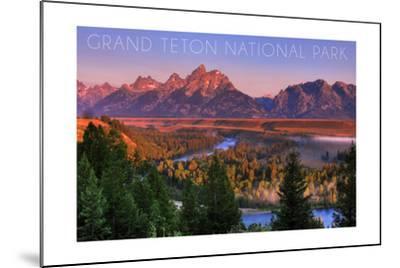 Grand Teton National Park, Wyoming - Sunset River and Mountains-Lantern Press-Mounted Art Print