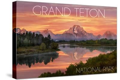 Grand Teton National Park, Wyoming - Sunset and Mountains-Lantern Press-Stretched Canvas Print