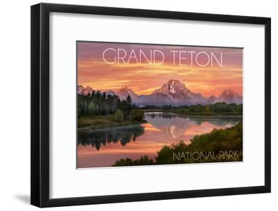 Grand Teton National Park, Wyoming - Sunset and Mountains-Lantern Press-Framed Art Print