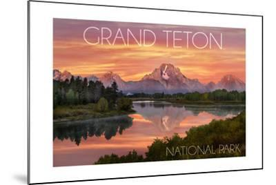 Grand Teton National Park, Wyoming - Sunset and Mountains-Lantern Press-Mounted Art Print