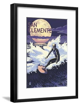 San Clemente Beach, California - Night Surfer-Lantern Press-Framed Art Print
