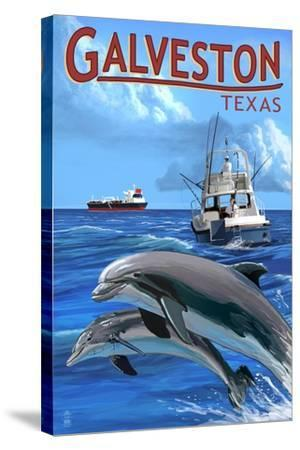 Galveston, Texas - Fishing Boat with Freighter and Dolphins-Lantern Press-Stretched Canvas Print