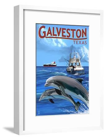 Galveston, Texas - Fishing Boat with Freighter and Dolphins-Lantern Press-Framed Art Print