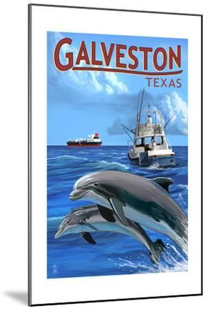 Galveston, Texas - Fishing Boat with Freighter and Dolphins-Lantern Press-Mounted Art Print