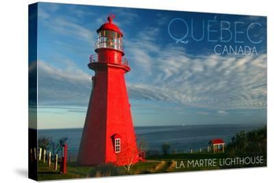 Quebec, Canada - Martre Lighthouse-Lantern Press-Stretched Canvas Print