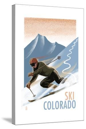 Colorado - Downhill Skier Lithography Style-Lantern Press-Stretched Canvas Print