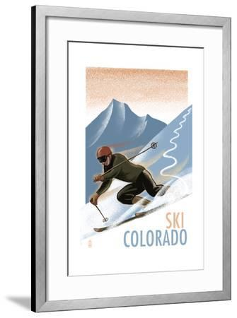 Colorado - Downhill Skier Lithography Style-Lantern Press-Framed Art Print