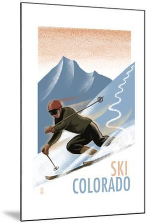 Colorado - Downhill Skier Lithography Style-Lantern Press-Mounted Art Print