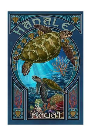 Hanalei, Hawaii - Sea Turtle Art Nouveau-Lantern Press-Framed Art Print