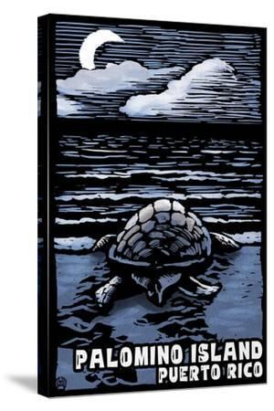 Palomino Island, Puerto Rico - Sea Turtle on Beach - Scratchboard-Lantern Press-Stretched Canvas Print