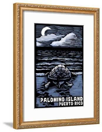 Palomino Island, Puerto Rico - Sea Turtle on Beach - Scratchboard-Lantern Press-Framed Art Print