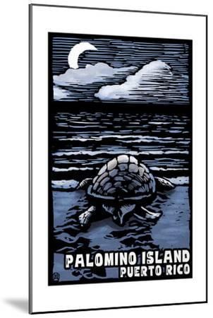 Palomino Island, Puerto Rico - Sea Turtle on Beach - Scratchboard-Lantern Press-Mounted Art Print