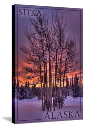 Sitka, Alaska - Tree in Snow-Lantern Press-Stretched Canvas Print
