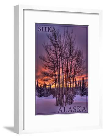 Sitka, Alaska - Tree in Snow-Lantern Press-Framed Art Print