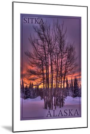 Sitka, Alaska - Tree in Snow-Lantern Press-Mounted Art Print