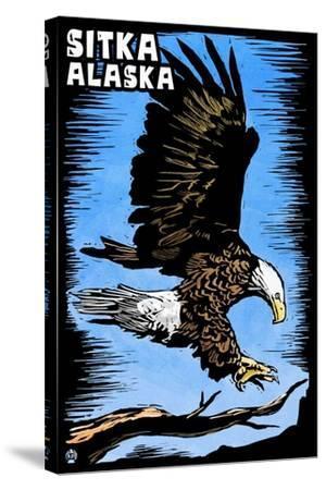 Sitka, Alaska - Bald Eagle - Scratchboard-Lantern Press-Stretched Canvas Print