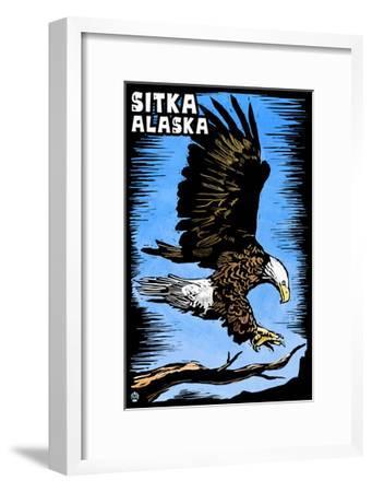 Sitka, Alaska - Bald Eagle - Scratchboard-Lantern Press-Framed Art Print