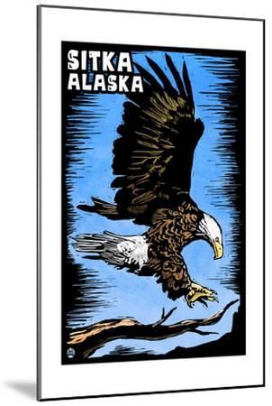 Sitka, Alaska - Bald Eagle - Scratchboard-Lantern Press-Mounted Art Print