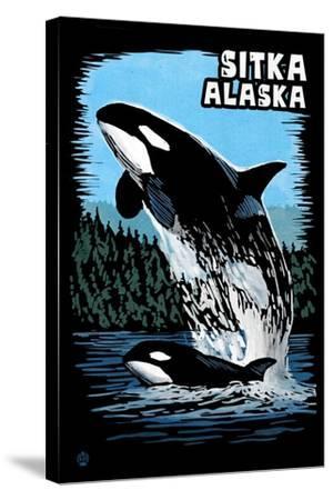 Sitka, Alaska - Orca - Scratchboard-Lantern Press-Stretched Canvas Print