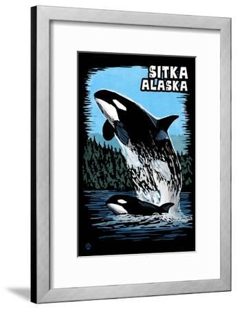 Sitka, Alaska - Orca - Scratchboard-Lantern Press-Framed Art Print