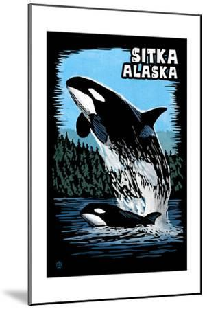 Sitka, Alaska - Orca - Scratchboard-Lantern Press-Mounted Art Print