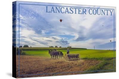 Lancaster County, Pennsylvania - Amish Farmer and Hot Air Balloons-Lantern Press-Stretched Canvas Print
