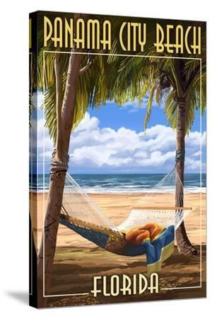 Panama City Beach, Florida - Hammock and Palms-Lantern Press-Stretched Canvas Print