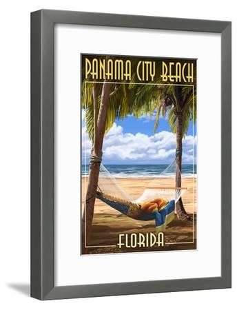 Panama City Beach, Florida - Hammock and Palms-Lantern Press-Framed Art Print