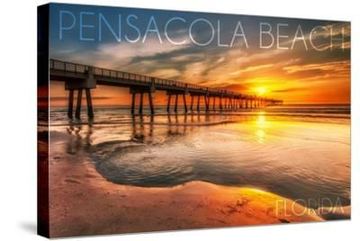 Pensacola Beach, Florida - Pier and Sunset-Lantern Press-Stretched Canvas Print