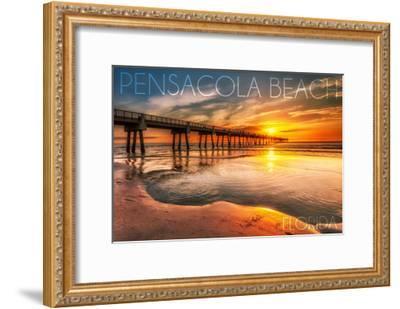 Pensacola Beach, Florida - Pier and Sunset-Lantern Press-Framed Art Print