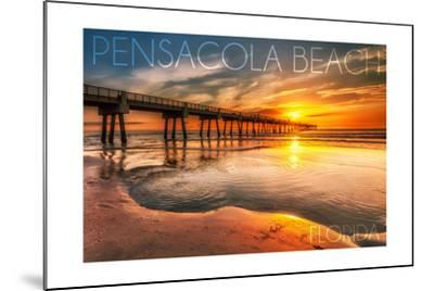 Pensacola Beach, Florida - Pier and Sunset-Lantern Press-Mounted Art Print