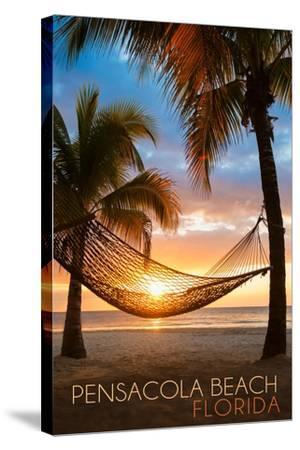 Pensacola Beach, Florida - Hammock and Sunset-Lantern Press-Stretched Canvas Print