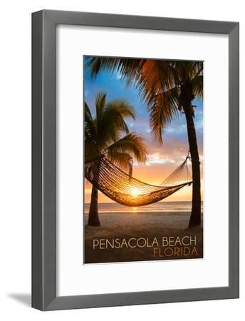 Pensacola Beach, Florida - Hammock and Sunset-Lantern Press-Framed Art Print