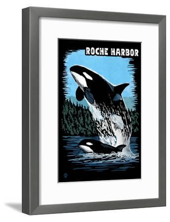 Roche Harbor, Washington - Orca and Calf Scratchboard-Lantern Press-Framed Art Print