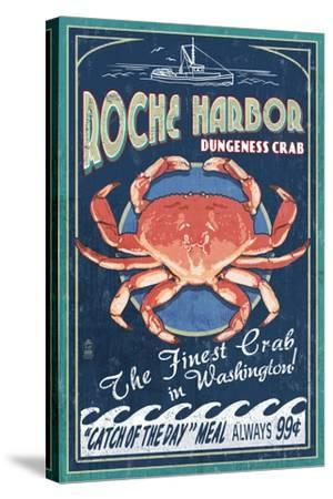 Roche Harbor, WA - Dungeness Crab Vintage Sign-Lantern Press-Stretched Canvas Print