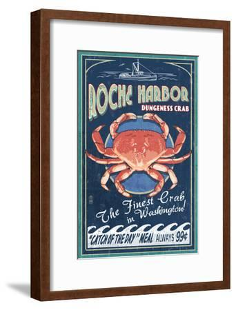 Roche Harbor, WA - Dungeness Crab Vintage Sign-Lantern Press-Framed Art Print