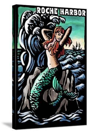 Roche Harbor, Washington - Mermaid - Scratchboard-Lantern Press-Stretched Canvas Print